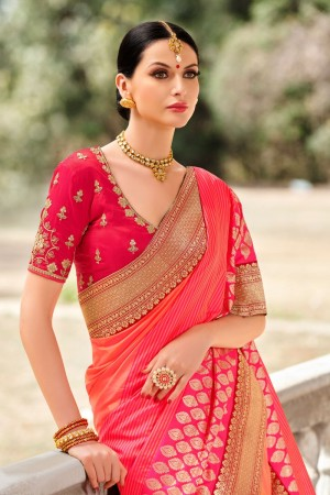 Orange&Pink Silk Saree with Blouse