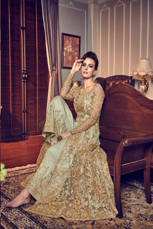 Mint Green Butterfly Net Salwar Kameez