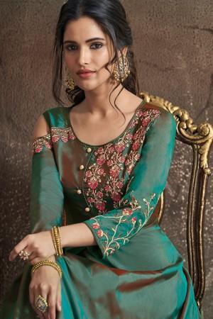 Green Soft Taffeta Silk Salwar Kameez