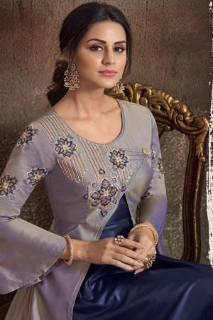 Silver & Blue Soft Taffeta Silk Salwar Kameez