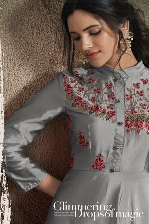 Grey Soft Taffeta Silk Salwar Kameez