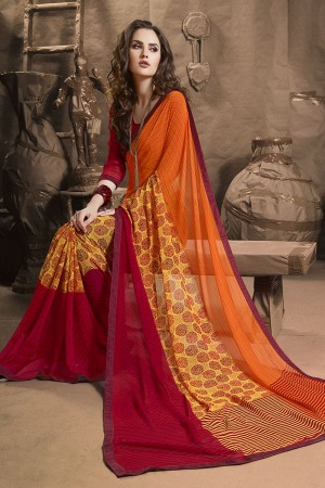 Classy Orange Major Georgette Printed and Lace Border Saree