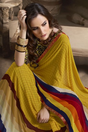 Designer Yellow Major Georgette Printed and Lace Border Saree
