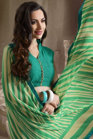 Beguiling Green Major Georgette Printed and Lace Border Saree