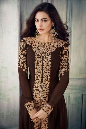 Brown Georgette Salwar Kameez
