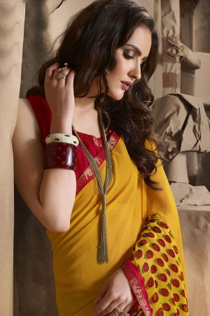 Alluring Yellow Major Georgette Printed and Lace Border Saree