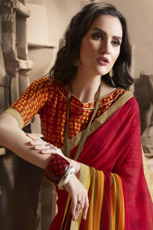 Fantastic Red Major Georgette Printed and Lace Border Saree