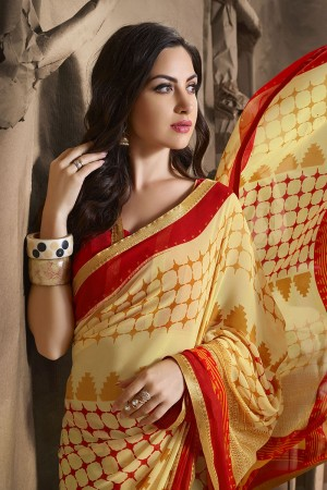 Glossy Cream Major Georgette Printed and Lace Border Saree