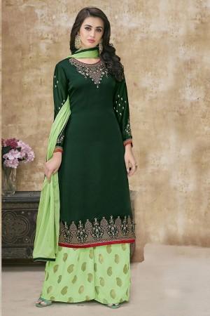 Dark Green Satin Georgette Salwar Kameez