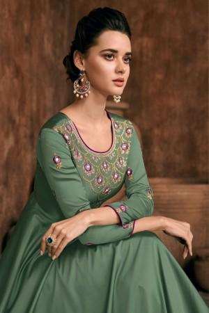 Olive Heavy Soft Silk Salwar Kameez