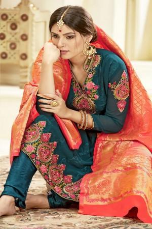 Olive Georgette Salwar Kameez