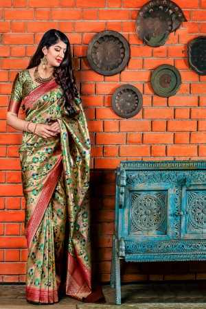 Golden Banarasi Silk Saree with Blouse