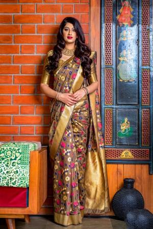 Chocolate Banarasi Silk Saree with Blouse