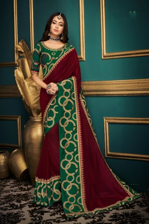 Dark Maroon Satin Georgette Saree with Blouse