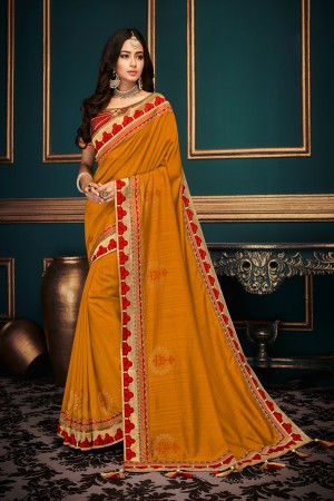 Mustard Silk Saree with Blouse
