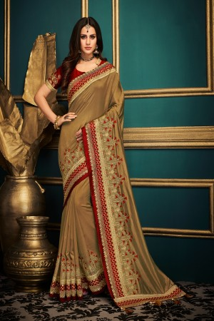 Chiku Satin Georgette Saree with Blouse