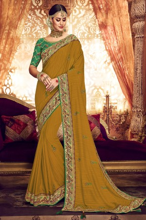 Mustard Georgette Cotton Saree with Blouse