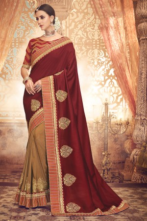 Maroon&Chiku Satin Georgette Saree with Blouse