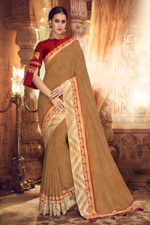 Apricot Satin Georgette Saree with Blouse