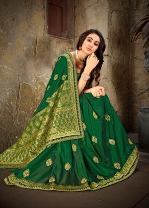 Green & Parrot Green Art Silk Saree with Blouse