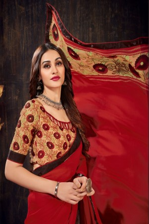 Red&Brown Moss Chiffon Saree with Blouse