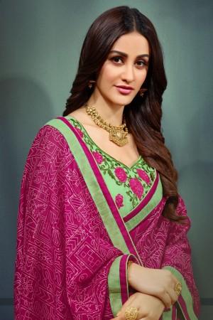 Pink Chiffon Saree with Blouse
