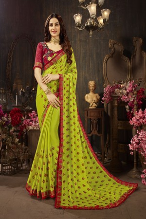 Parrot Green Silk Georgette Saree with Blouse
