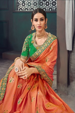 Orange Bhagalpuri Silk Saree with Blouse
