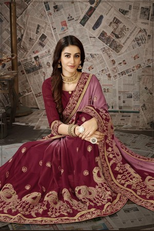 Maroon Moss Chiffon Saree with Blouse