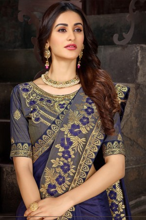 Purple Art Silk Saree with Blouse