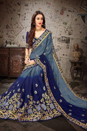 Blue & Grey Chiffon Saree with Blouse