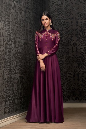Magenta Glowing Georgette Gown