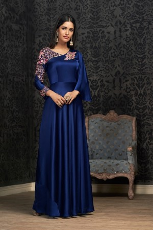 Blue Glowing Georgette Gown