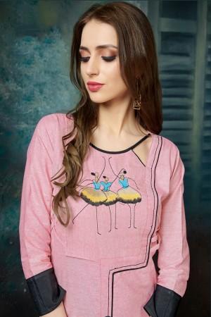 Pink Khadi Cotton Kurti