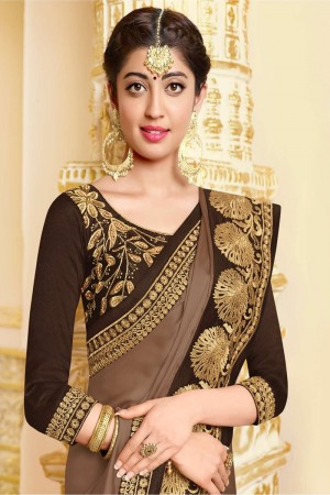 Coffee Satin Georgette Saree with Blouse