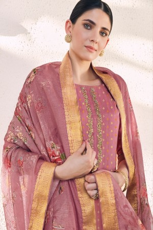 Rose Pink Cotton Silk Jacquard Butti Salwar Kameez