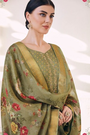 Mehendi Cotton Silk Jacquard Butti Salwar Kameez