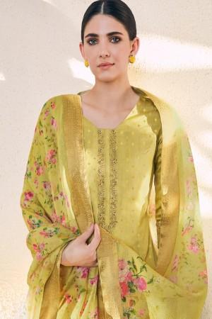 Lemon Cotton Silk Jacquard Butti Salwar Kameez