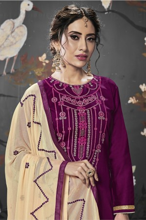 Wine Jam Silk Cotton Dress Material