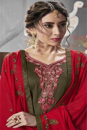Mehendi Jam Silk Cotton Dress Material