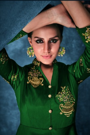 Dark Green Soft Silk Salwar Kameez