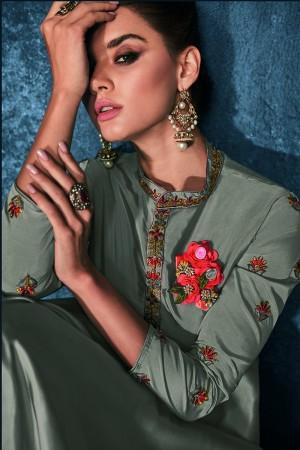 Grey Soft Silk Salwar Kameez