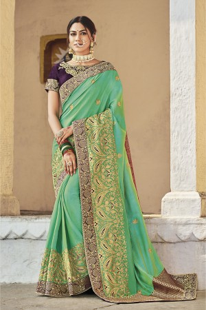 Rama Cotton Silk Saree with Blouse
