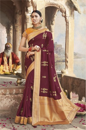 Magenta Cotton Silk Saree with Blouse