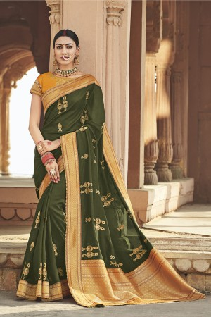 Mehendi Cotton Silk Saree with Blouse