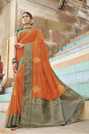 Orange Cotton Silk Saree with Blouse