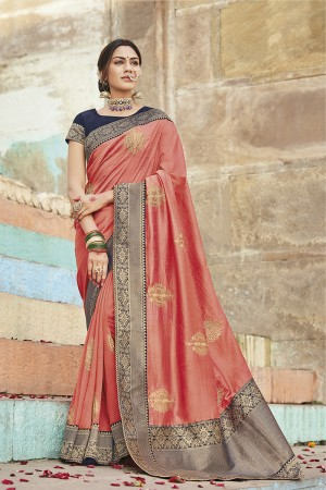 Peach Cotton Silk Saree with Blouse