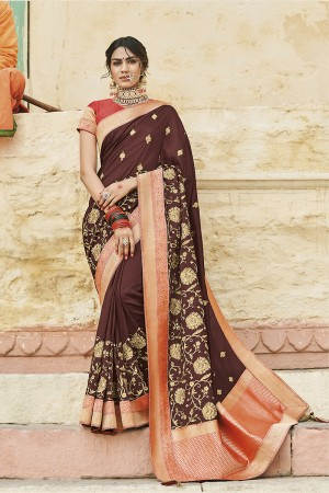 Brown Cotton Silk Saree with Blouse