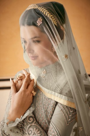 Olive Net Salwar Kameez