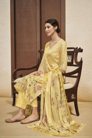 Yellow Cotton Satin Salwar Kameez